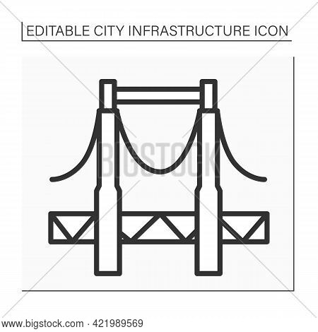Bridge Line Icon. Structure Connecting Separate Area Points. Provides Passage Over The Obstacles. Ou