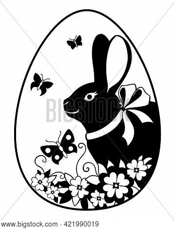 Easter Egg On Which The Rabbit, Flowers And Butterflies Are Drawn - Vector Silhouette Illustration.