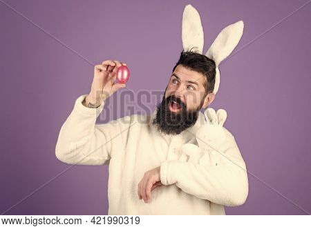 Man Handsome Face Wear White Bunny Ears. Easter Bunny. White Bunny Symbol Of Easter. Guy With Toy An