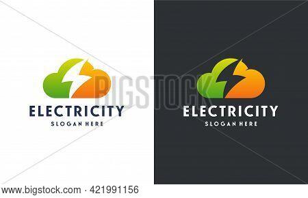Storm Cloud Logo Designs Concept Vector, Cloud Logo Template, Electricity Logo Symbol