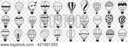 Flying Air Balloon Doodle Set. Collection Of Hand Drawn Various Patterned Air Balloons For Making Tr
