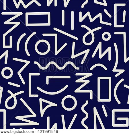 Memphis Inspired Weird Typography Design Seamless Background Pattern. Vector Illustration.