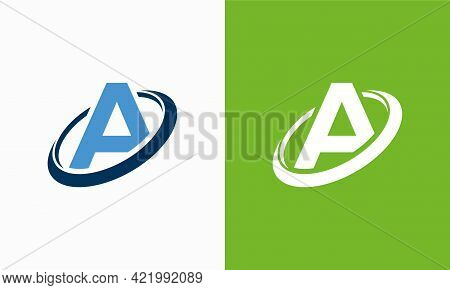 Simple Shield Letter A Logo Designs, A Initial Shield Planet Circle Logo Symbol Icon Template