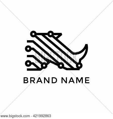 Bold, Strong And Powerful Logo Design Rhino Tech. Logo Created Combining Rhino Head And Circuit Icon