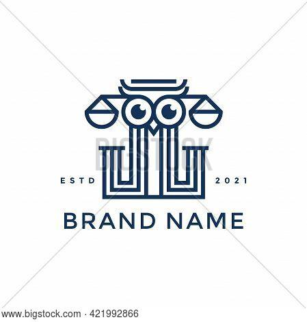Modern And Sleek Illustration Logo Design Justice Owl.