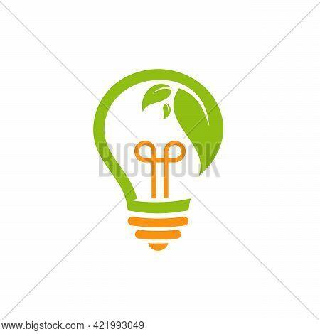Green Energy Logo, Nature Idea Logo, Leaf And Bulb Logo Symbol, Growing Inspiration Logo Concept
