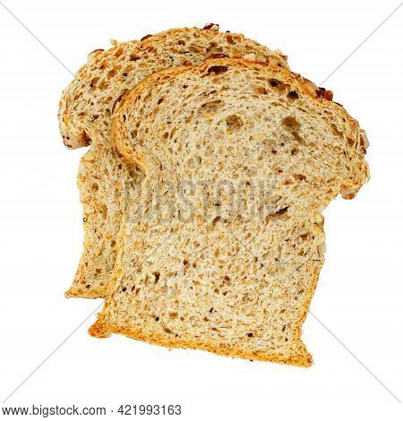 Two Pieces Of Homemade Wholewheat Bread Isolated On White Background, Ready For Breakfast Meal
