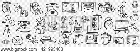 Retro And Modern Technical Appliances Doodle Set. Collection Of Hand Drawn Various Telephone Teapot