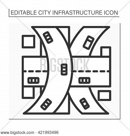 Multi-level Junction Icon. Road Junction To Let Traffic Pass Through Junction Without Interruption F
