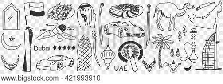 Arabic Emirates Symbols Doodle Set. Collection Of Hand Drawn Various United Arabic Emirates Tourism