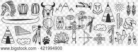 Indian Tribe Symbols Doodle Set. Collection Of Hand Drawn Various Signs Of Indian Culture Traditiona