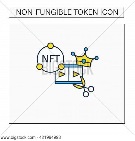 Nft Video Clips Color Icon.clips With Non Fungible Token Coin. Selling.represent Digital Files. Used