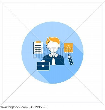 Written Communication Flat Icon. Conveying Messages Through Written Symbols. Documentary. Writing Fo