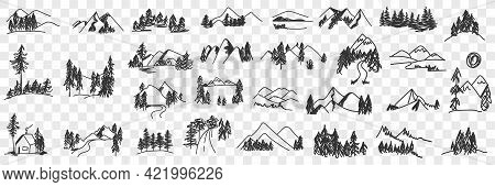 Mountains Valley Landscapes Doodle Set. Collection Of Hand Drawn Various Sceneries And Views Of Natu