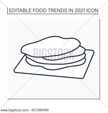 Corn Tortilla Line Icon. Thin, Unleavened Flatbread. Snack. Mexican Traditional Dish. Food Trends Co