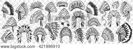 Indians Feather Headdress Doodle Set. Collection Of Hand Drawn Various Accessories Of Indian America