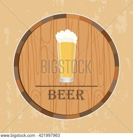 Beer Barrel With A Glass Of Beer. Beer Retro Banner. Vector Illustration. Vector.