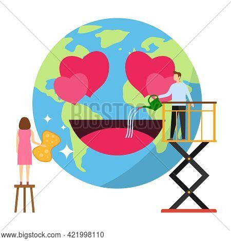 People Are Cleaning Up The Planet. Cleaning The Planet From Dirt And Dust. A Man And A Woman Are Cle
