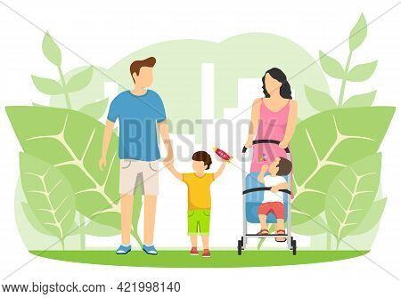 Family, Young Family, Mom, Dad And Children. Vector Illustration. Vector.