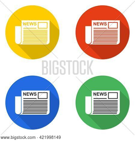 Newspaper Icon, Set Of Colored Newspaper Icons. Vector Illustration. Vector.