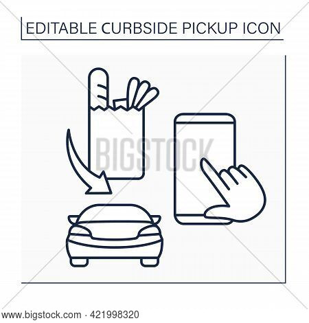 Application Line Icon. Curbside Pickup Mobile App. Order Tracking. Online Ordering Products From Gro
