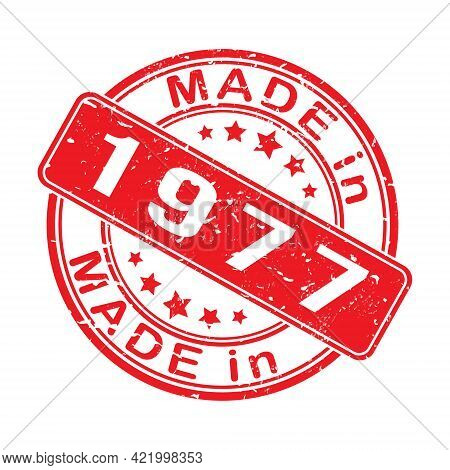 Imprint Of A Seal Or Stamp With The Inscription Made In 1977. Label, Sticker Or Trademark. Editable