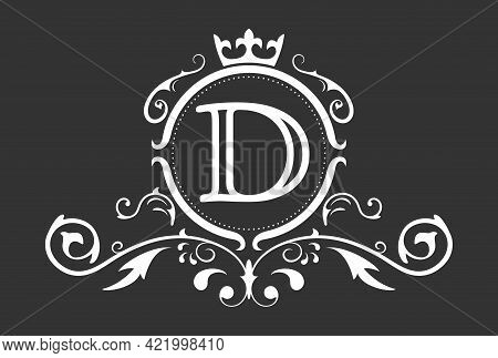 Stylized Letter D Of The Latin Alphabet. Monogram Template With Ornament And Crown For Design Of Ial