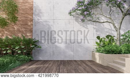Empty Exterior Concrete Wall With Tropical Style Garden 3d Render,decorate With Tropical Style Tree