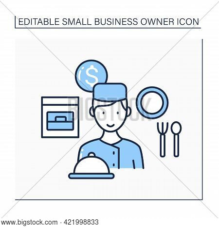Personal Chef Line Icon. Man Cooks For Special Clients. Only Exclusive Dishes. Small Business Owner