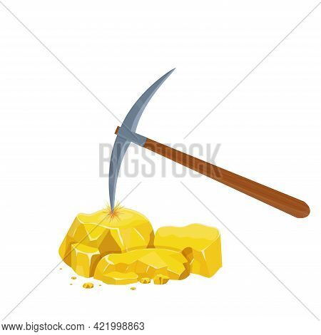 Wooden Pickaxe And Gold Nugget Pile, Ore In Cartoon Style Isolated On White Background. Mine, Diggin