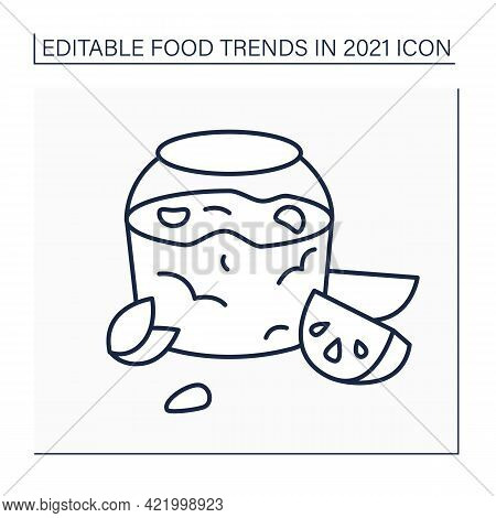 Jelly Recipe Line Icon. Jalapeno Pepper Jelly. Delicious Sweet And Spread. Food Trends Concept. Isol
