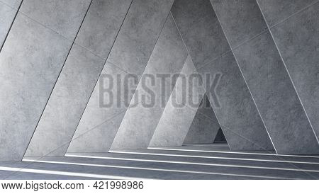 Modern Space Indoor With Tilted Wall 3d Render,there Are Polished Concrete Floor And Wall Sunlight S