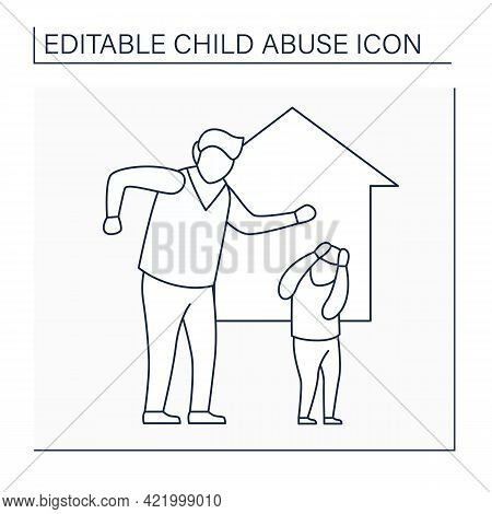Domestic Violence Line Icon. Aggressive Actions Against Child. Intimidation, Beatings. Hypercontrol,