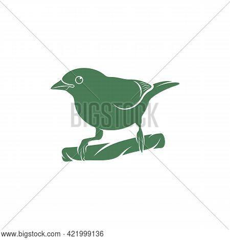 Saira Amarela Bird Vector Illustration. Saira Amarela Bird Logo Design Concept Template. Creative Sy