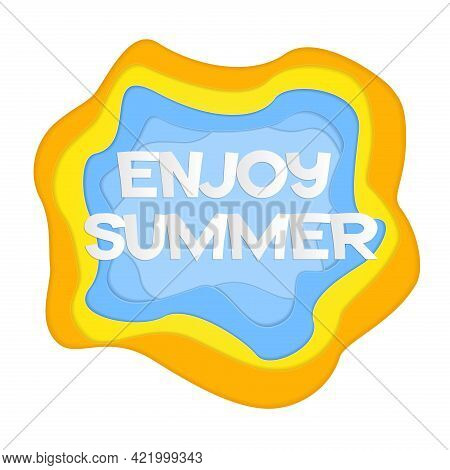Papercut Banner With Phrase Enjoy Summer. Cut Out Letters With Shadows And 3d Effect. Abstract Vecto