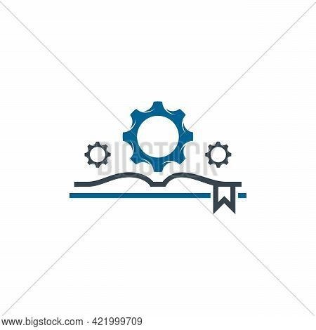 Gear Book Logo Designs Concept Vector, Mechanic Learning Logo Template