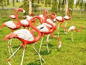A molded figure red and white flamingo poster