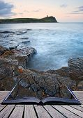 Creative composite image of seascape in pages of magic book poster