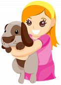 An Illustration of a Child hugging Pet Dog with Clipping Path poster