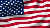 American flag waving in the wind detail poster