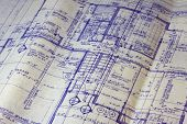 detail of 40 years old house blueprint - main floor plan poster