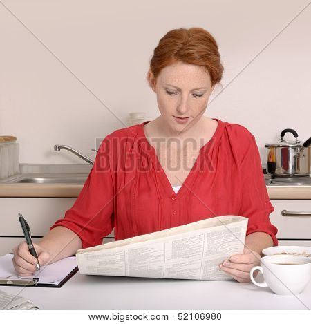 Pretty Red-haired Woman Searching For Job