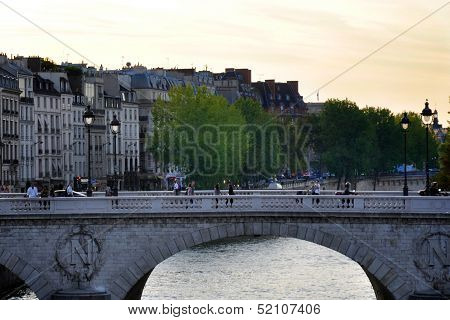 Sunset Over The Seine In Paris