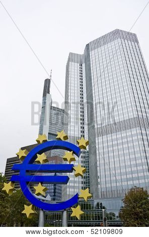 Euro Currency Sign And The European Central Bank In Frankfurt