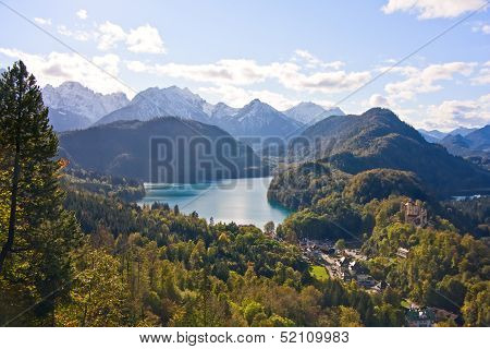 Mountain Lake And View To Bavarian Alps And Shwangau
