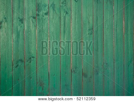 Old Green Wooden Plank Background