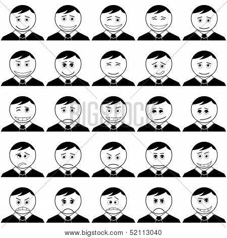Office smileys, set, black contour