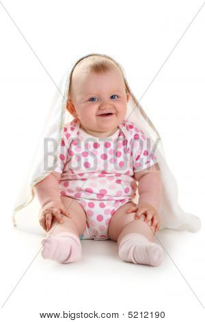 Cute Smiling Baby Under Towel Isolated On White With Shadow