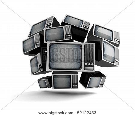 Retro Tv With Static.