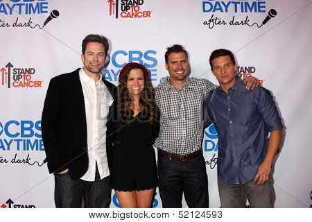 LOS ANGELES - OCT 8:  Michael Muhney, Melissa Claire Egan, Joshua Morrow, Steve Burton at the CBS Daytime After Dark Event at Comedy Store on October 8, 2013 in West Hollywood, CA